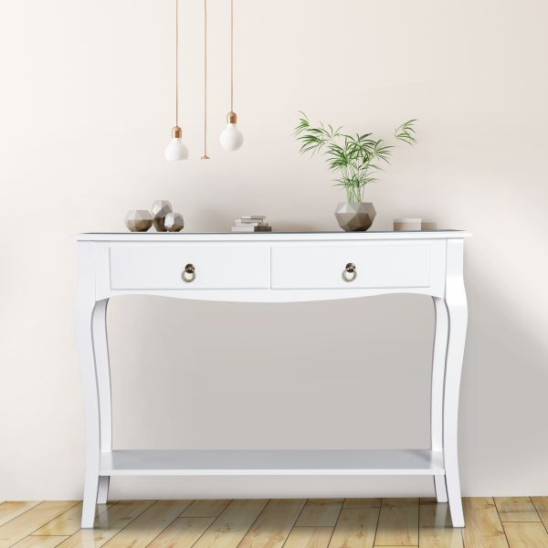 Homcom 2-Drawer Console Table - Ivory White