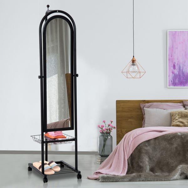 Homcom Free Standing Dressing Mirror with a Basket - Black