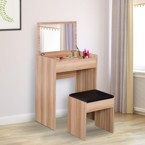 Homcom Flip-Up Dressing Table, Mirror & Stool Set - Natural Wood or White