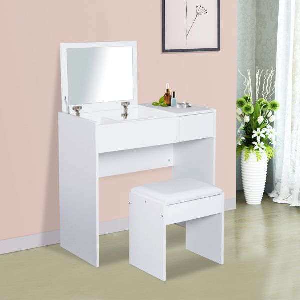Homcom 1-Drawer Flip-Up Dressing Table & Stool Set - Natural Wood or White