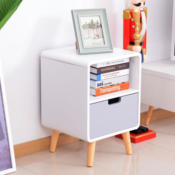 Wooden Bedside Table With Drawer in Scandinavian Nordic Style