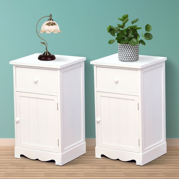 Set of 2 Free Standing Wooden Cabinet Bedside Tables