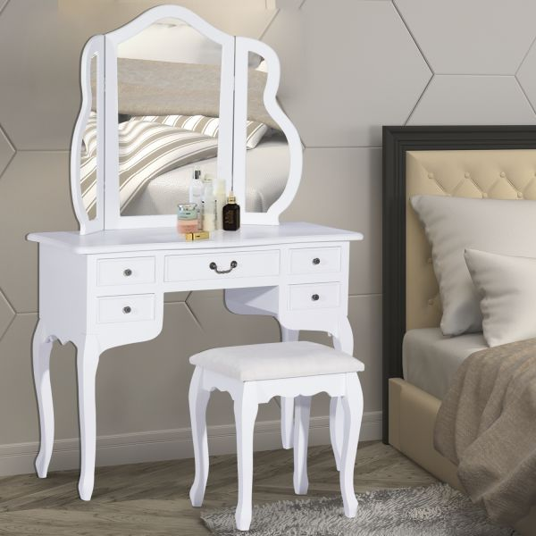 Homcom White Wood Dressing Table with Stool