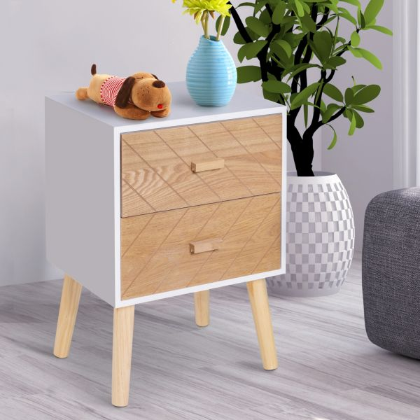 2 Drawers Bedside Cabinet in Nordic Design