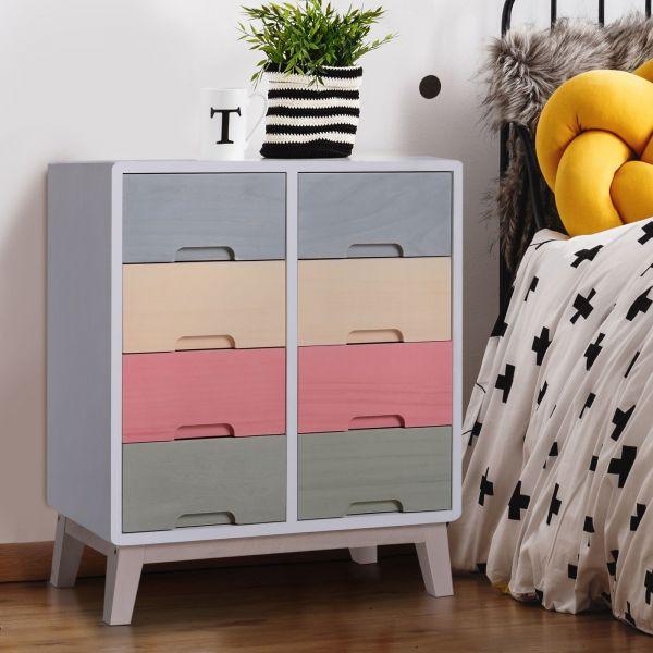 Homcom 8 Drawer Multicoloured Wood Storage Chest