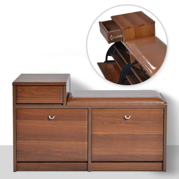 Homcom 3-Tier Wooden Shoe Storage Bench - Dark Brown or Light Brown