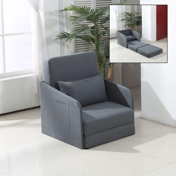 Homcom Suede Futon Sofa Bed Armchair & Pillow - Grey