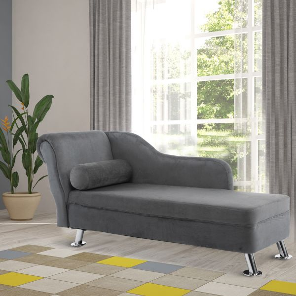 Homcom Vintage Grey Chaise Lounge Sofa Bed