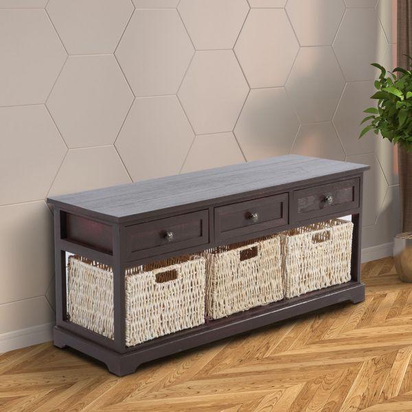 Homcom Wooden 3-Basket Storage Coffee Table - Black Cherry or White