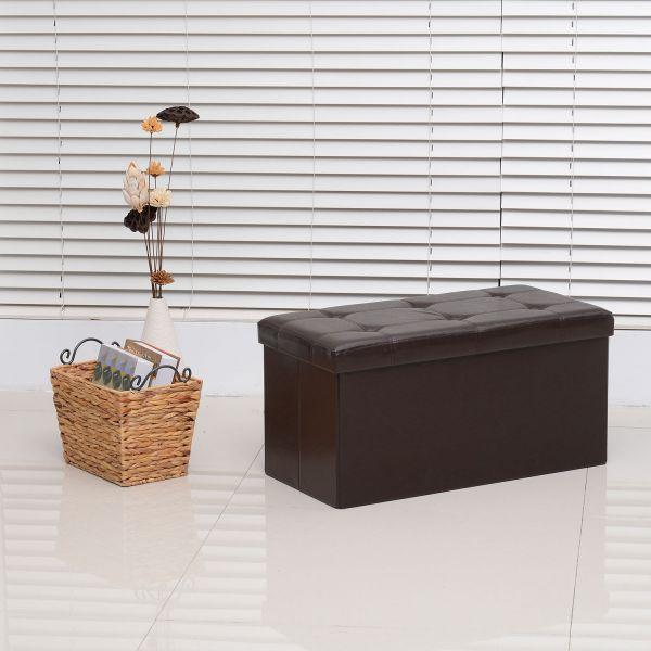 Homcom Folding Faux Leather Storage Ottoman Bench - Brown or White
