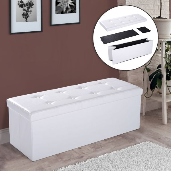 Homcom Faux Leather Ottoman Storage Bench - Brown or White