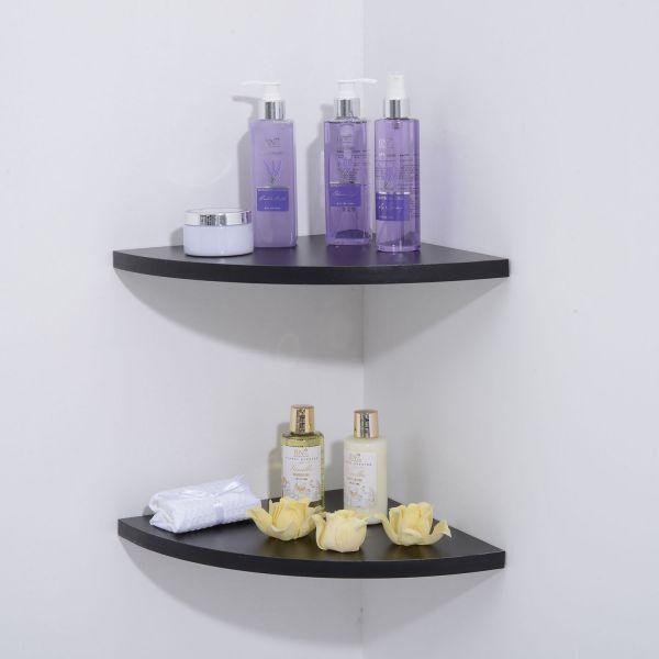 Homcom 2PC Floating Corner Display Shelves - Black or White