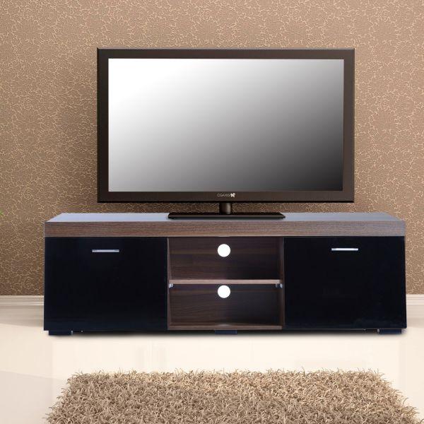 Homcom 2-Door TV Cabinet Stand - Walnut & Black
