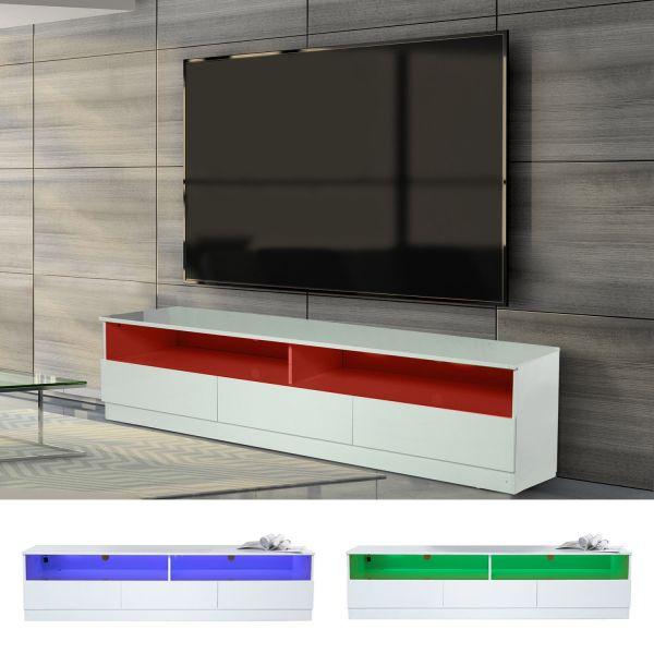 Homcom 3-Drawer Gloss LED TV Cabinet Stand - White