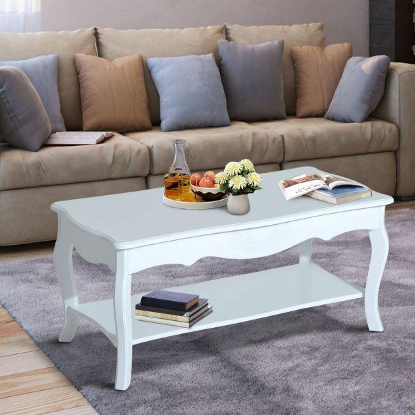 Homcom Wood 2-Tier Coffee Table - White