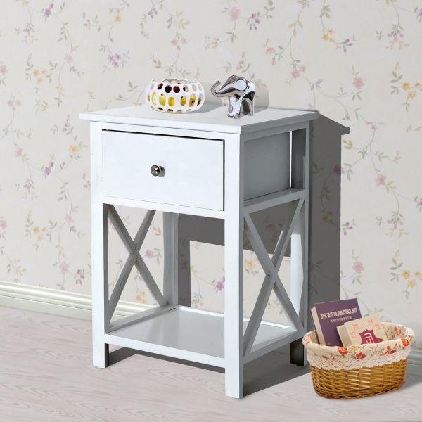 Homcom 1-Drawer White Wood Side Lamp Table