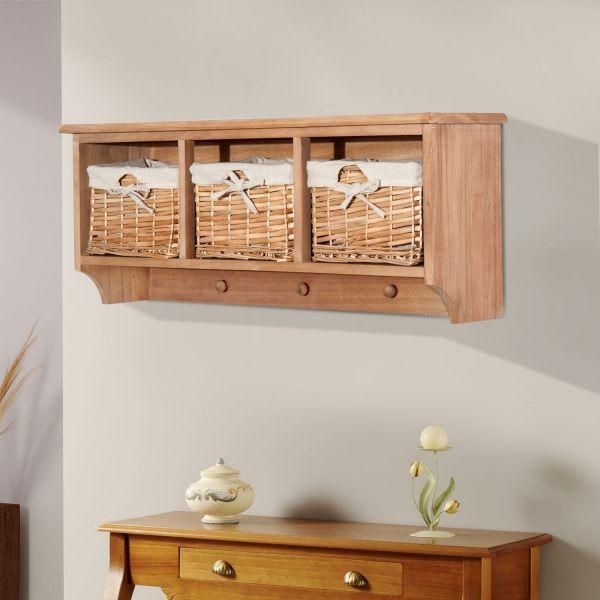 Homcom 3-Basket Wall Mount Storage Coat Rack - Brown or White