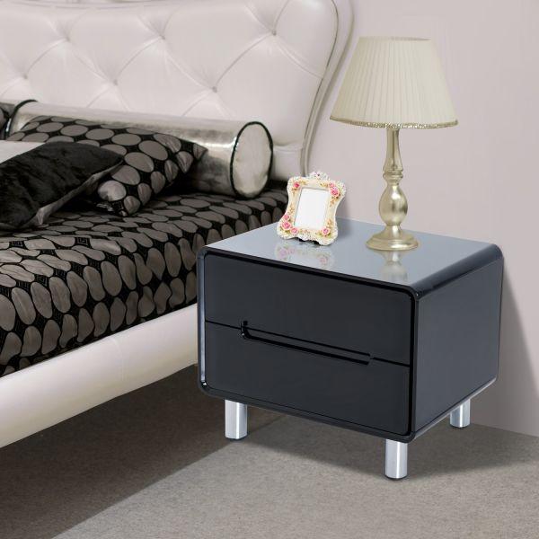 Homcom 2-Drawer Black Gloss Bedside Table