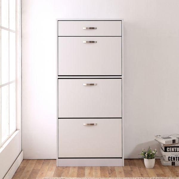 Homcom 4-Drawer Shoe Storage Cabinet - Black or White