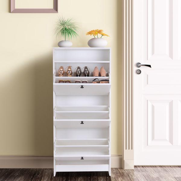 Homcom 3-Drawer Shoe Storage Cabinet - Burlywood or White