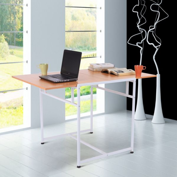 Homcom Adjustable Drop Leaf Dining Table - Burlywood