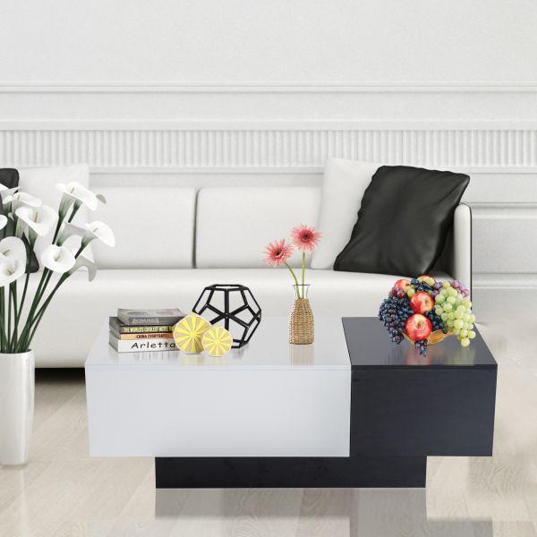 Homcom Sliding Top Storage Coffee Table - Black & White