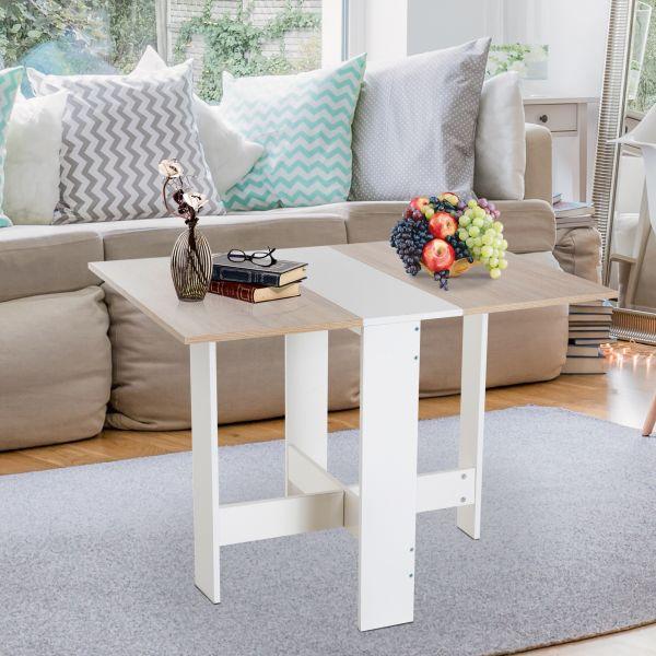Homcom Wooden Folding Dining Table - Oak White