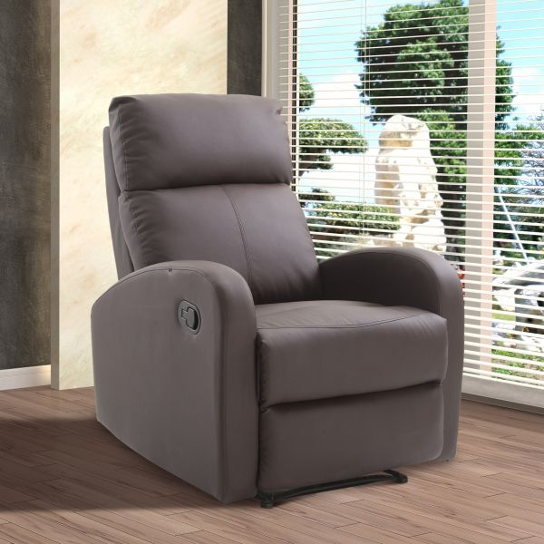 Homcom Luxury Reclining PU Leather Swivel Chair - Black or Brown