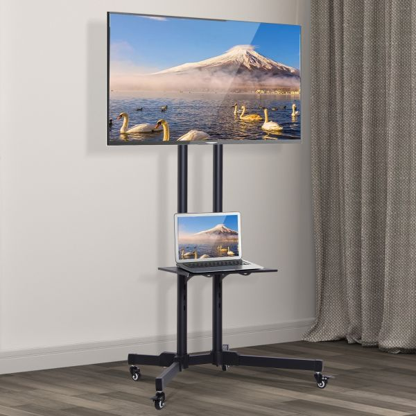 Mobile TV Stand with Storage Shelf and Adjustable Height