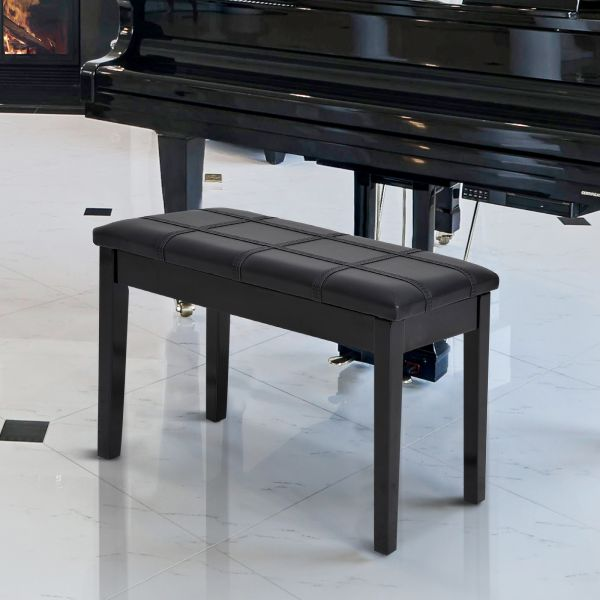 Faux Leather Piano Stool Black or Wine Red