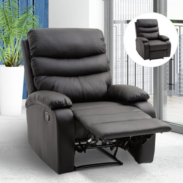 Single Black PU Leather Recliner Armchair