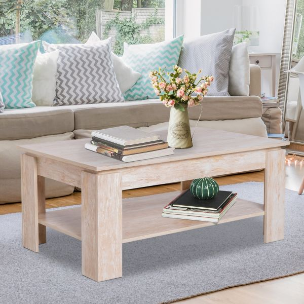 Homcom 2 Tier Modern Wood Coffee Table