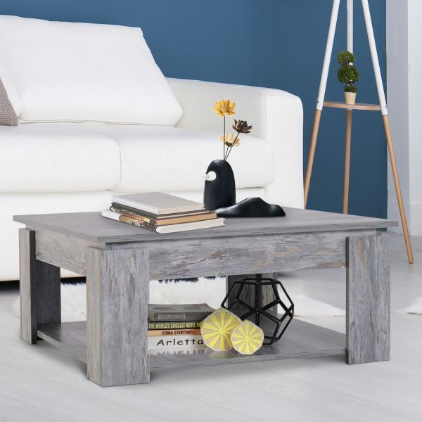 2 Tier Wood Coffee Table in Grey