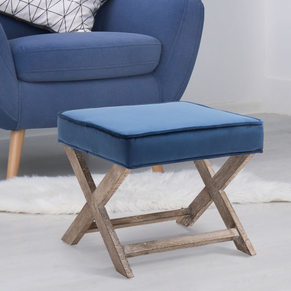 Vintage Padded Seat Footstool in Blue and Grey
