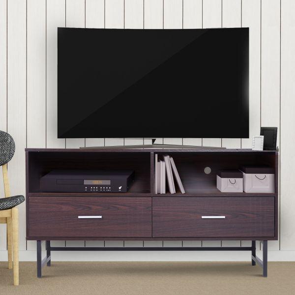 Homcom Modern 2-Drawer TV Stand - Brown