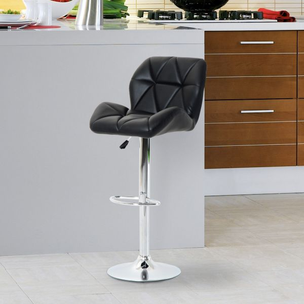 Homcom Diamond Chrome PU Leather Swivel Bar Stool - Black or White