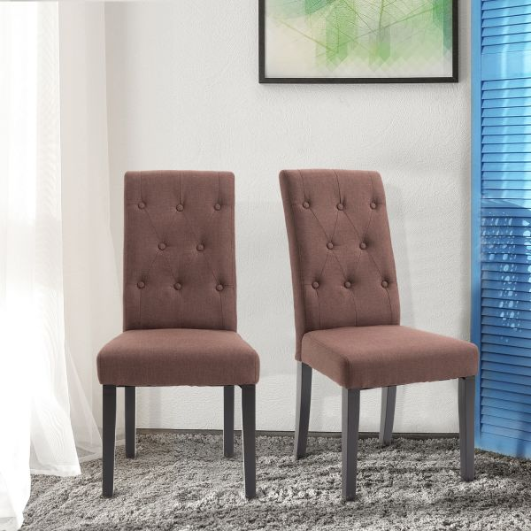 Homcom Linen Fabric Dining Chairs x2 - Brown or Cream