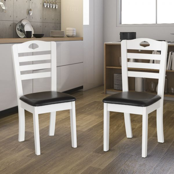 PU Leather Dining Chairs Set of 2 (White Frame & Black Seat)