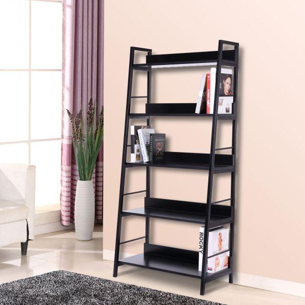 Homcom 5-Tier Leaning Ladder Bookshelf - Black