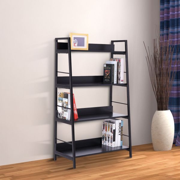 Homcom Leaning Ladder  Bookcase 4 Tiers