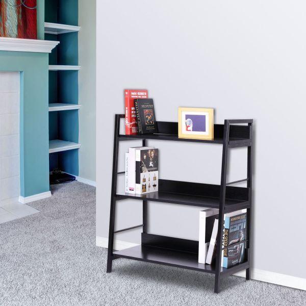 Homcom Leaning Ladder Bookshelf in Black 3 Tiers