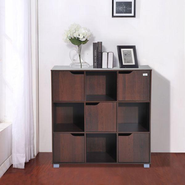 Homcom 9 Cube Multi-Cell Storage Bookshelf - Dark Coffee