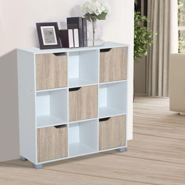 Homcom 9 Cubic Bookcase in White & Oak