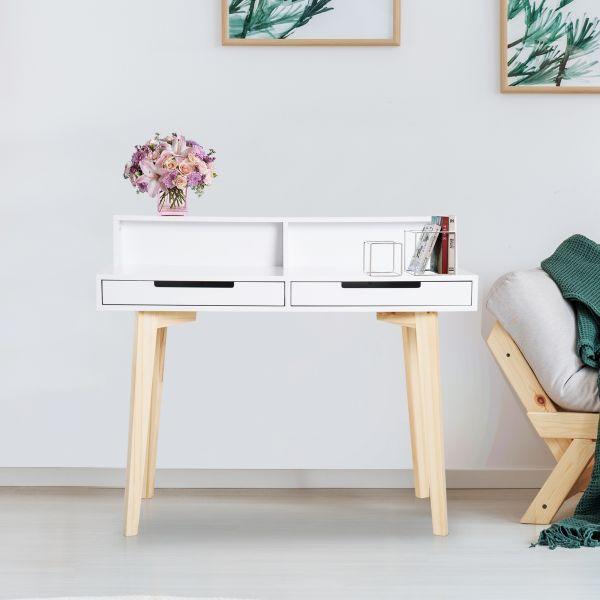 Homcom Retro Style Computer Desk with 2 Drawers