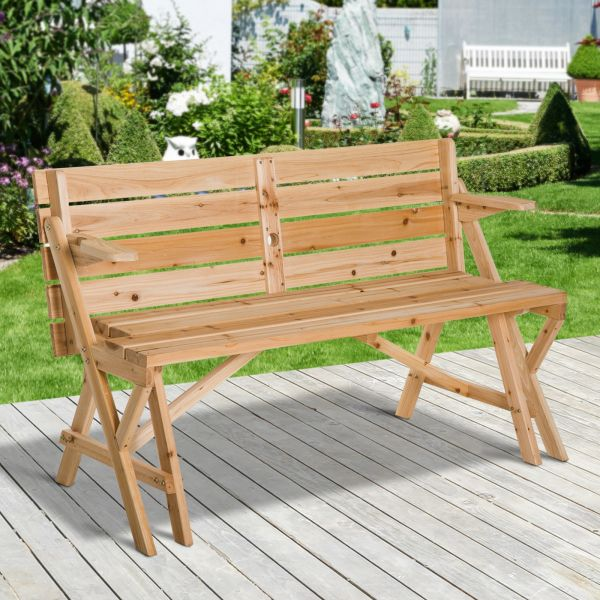 Outsunny 2-in-1 Transforming Wood Picnic Table Bench