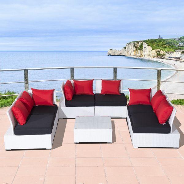 Outsunny 7PC Sectional Wicker Corner Sofa Set - White