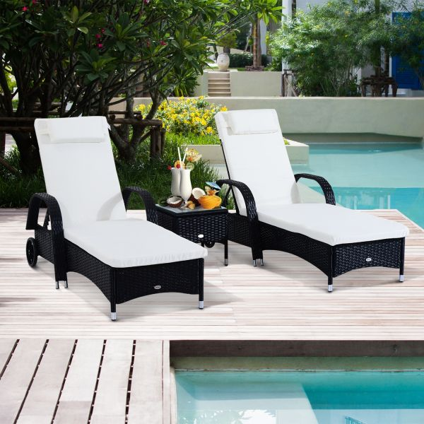 Outsunny Wicker Recliner Bed Chair Set with Table in Black and Brown