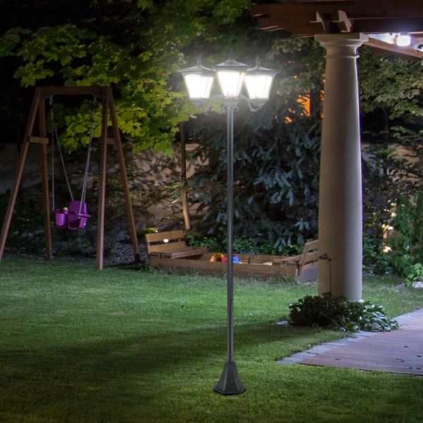 Outsunny Traditional Victorian 3-Way Solar LED Post Lamp