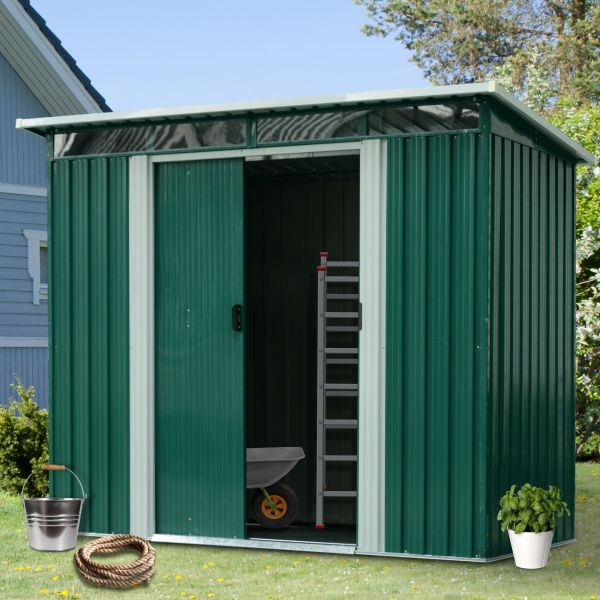 Outsunny Pent Roofed Green Metal Garden Shed - 2 Sizes