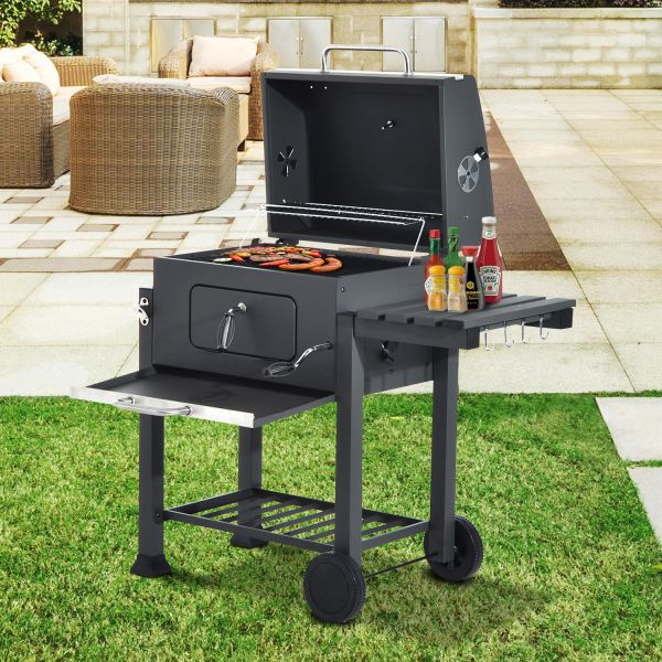 Outsunny Charcoal BBQ Trolley w/ Shelf Side Table